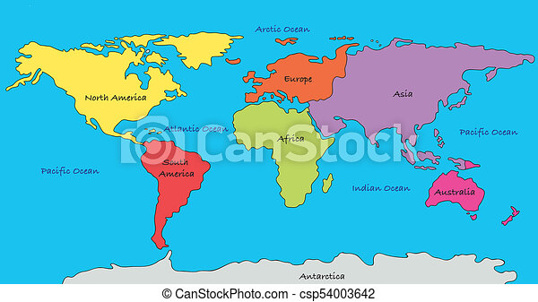 World map world map with highlighted continents in different colors world map csp54003642 gumiabroncs Choice Image