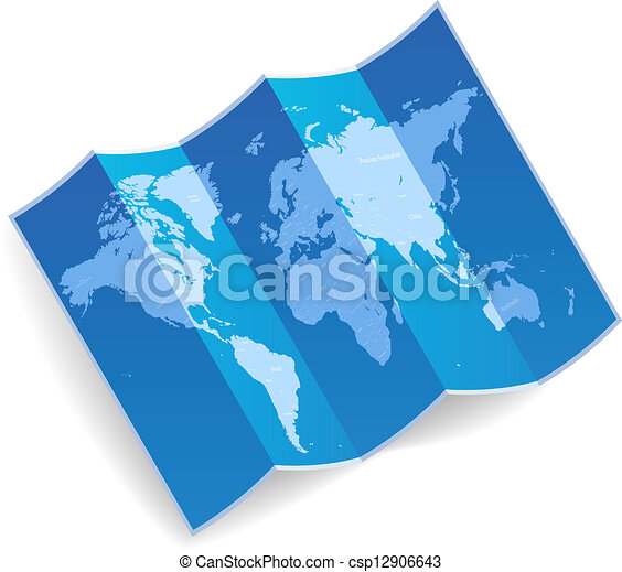 World Map Blue Folded World Map Vector Illustration
