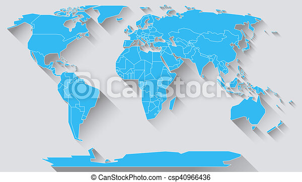 World map flat design world map in basic shapes of all continents world map flat design csp40966436 gumiabroncs Gallery