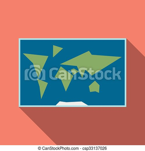 World map flat style simplified world map with blue ocean vector world map flat style csp33137026 gumiabroncs Gallery