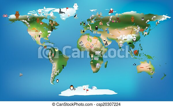 World map for childrens using cartoons of animals and famous world map for childrens using cartoons of animals and famous lan csp20307224 gumiabroncs Images