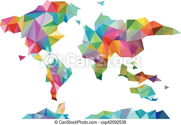 World Map Geometric Design Colorful Illustration Of A World Map