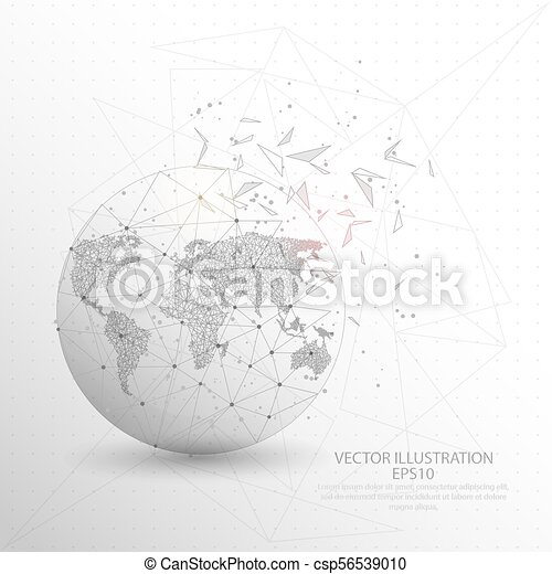 World map globe digitally drawn low poly triangle wire vector vector world map globe digitally drawn low poly triangle wire frame csp56539010 gumiabroncs Image collections
