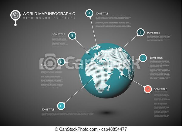 World map globe template world map globe with pointer marks dark world map globe template csp48854477 gumiabroncs Choice Image