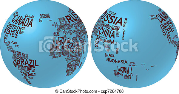 Illustration of world map globe with country name vector search world map globe with country name csp7264708 gumiabroncs Images