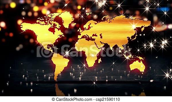World map gold city light shine bokeh 3d background loop animation gumiabroncs Choice Image