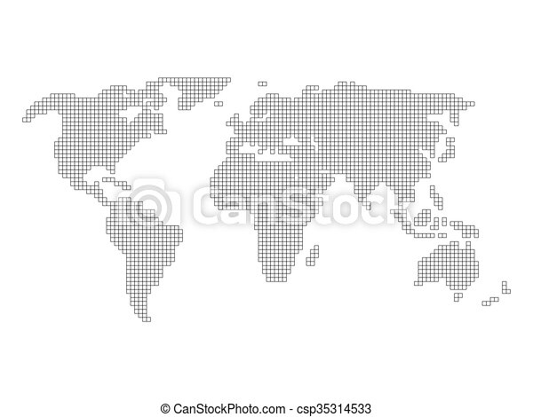 World map grid tiled by small squares with black outline world map grid csp35314533 gumiabroncs Image collections