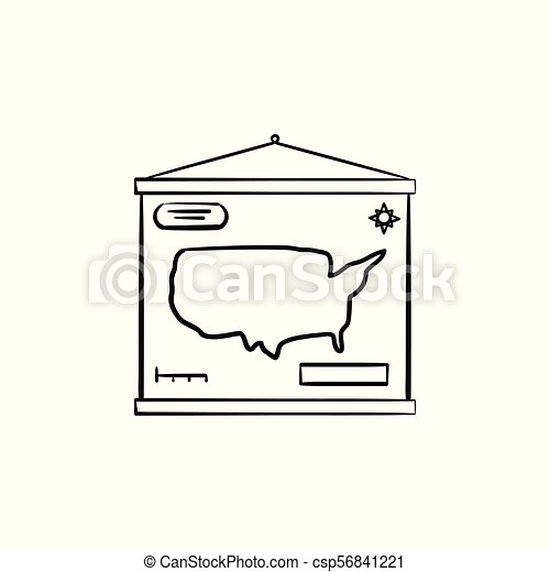 World map hand drawn sketch icon. World map hand drawn outline ...