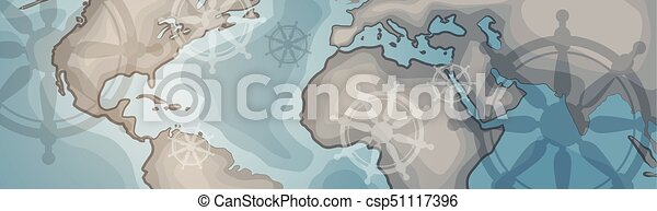 World map horizontal banner retro vintage style of eps vectors world map horizontal banner retro vintage style of continents csp51117396 gumiabroncs Images