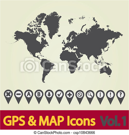 World map icon 1 map with navigation icons vol 1 vector world map icon 1 csp10843666 gumiabroncs Images