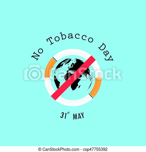 World map icon and Quit Tobacco sign World no tobacco day No Smoking Day  Awareness Vector illustration