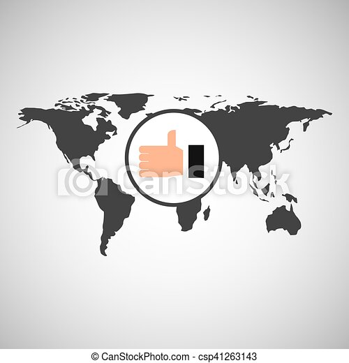 World map icon world map with thumb up icon vector eps vector world map icon csp41263143 gumiabroncs Images