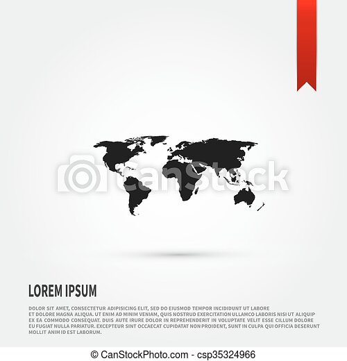 World map icon flat design style template for design clip art world map icon flat design style template for design csp35324966 gumiabroncs Gallery