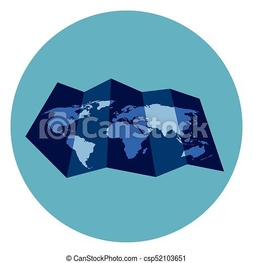 World map icon on round blue background flat vector clipart world map icon on round blue background csp52103651 gumiabroncs Images