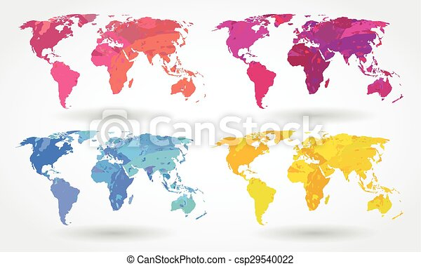 World map icons vector watercolor brush stained world map icons world map icons csp29540022 gumiabroncs Images