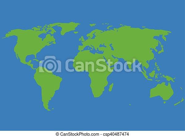 World map illustration vector graphic , green, blue. World map ...