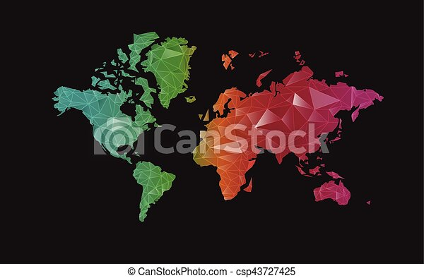 Vector of colorful polygonal world map vector illustration search world map csp43727425 gumiabroncs Gallery