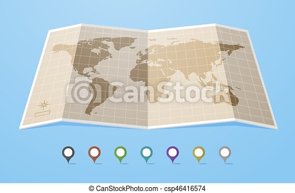 Vintage world map in flat style with different colored vectors world map csp46416574 gumiabroncs Images