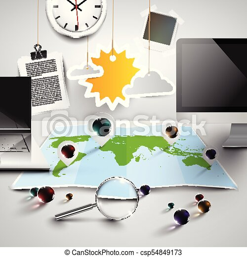 World map in 3d with office tools sunny vector vectors world map in 3d with office tools sunny vector gumiabroncs Gallery