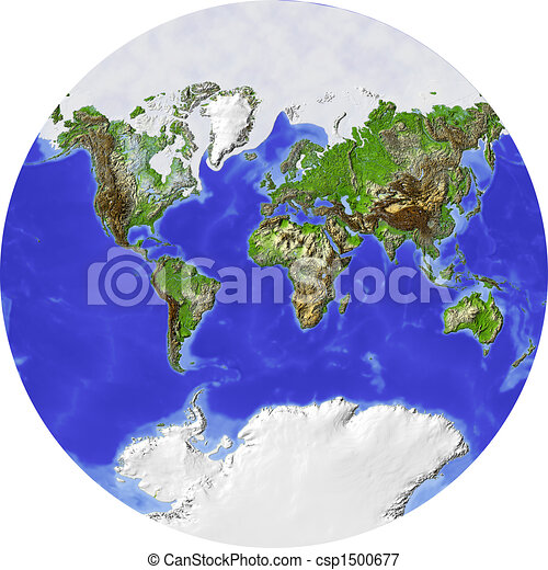 World Map In A Circle Globe Showing The Whole World In A Circle