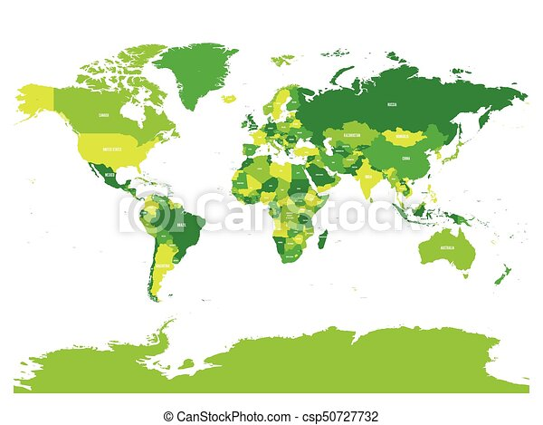 world map in four shades of green on white background high detail political map with country names