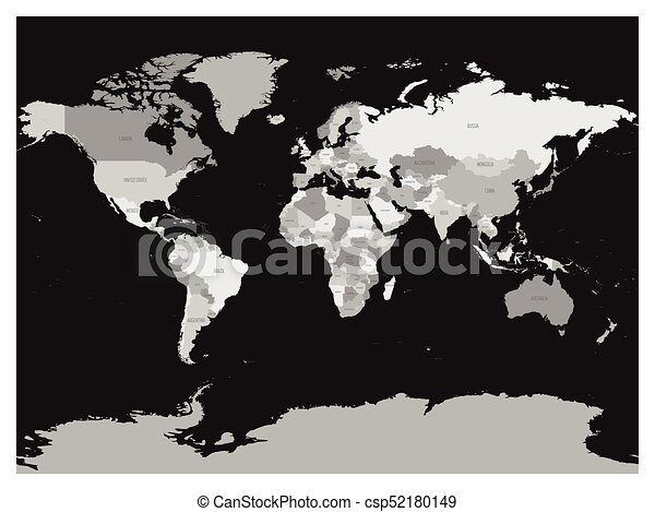 World map in four shades of grey on dark background high eps world map in four shades of grey on dark background high detail blank political map vector gumiabroncs Images