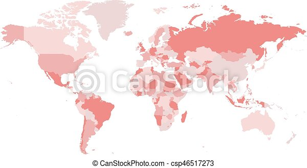 World map in four shades of pink on white background high detail world map in four shades of pink on white background high detail blank political map vector illustration with labeled compound path of each country gumiabroncs Image collections