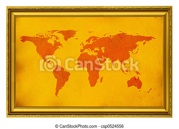 World map in golden frame isolated on white stock image search world map in golden frame csp0524556 gumiabroncs Image collections
