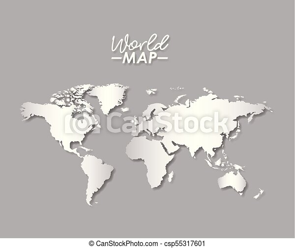 World map in grayscale color silhouette vector illustration vector world map in grayscale color silhouette csp55317601 gumiabroncs Choice Image