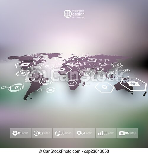 World map in perspective blurred infographic vector template for world map in perspective blurred infographic vector template for business design gumiabroncs Images