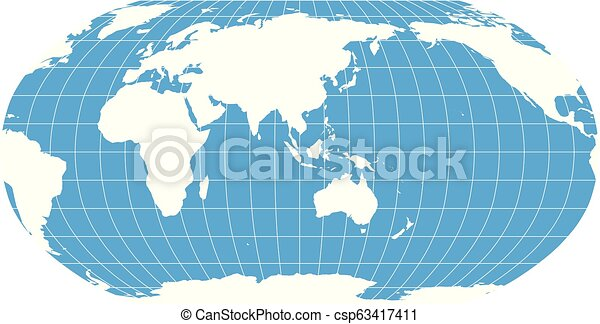 Australia Map Grid.World Map In Robinson Projection With Meridians And Parallels Grid Asia And Australia Centered White Land And Blue Sea Vector Illustration