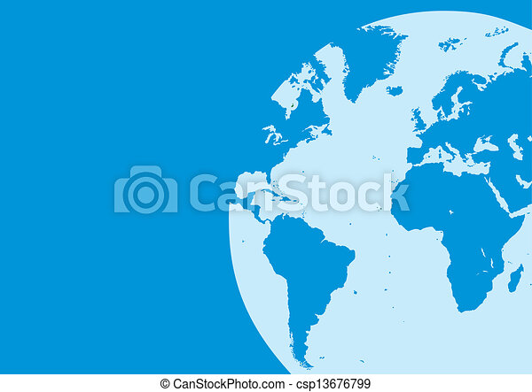 world map in the blue color - csp13676799