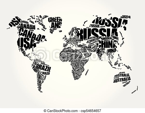 World map in typography word cloud names of countries education world map in typography csp54654657 gumiabroncs Image collections