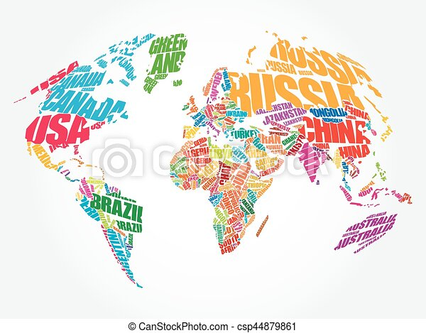 World map in typography word cloud concept names of clip art world map in typography word cloud csp44879861 gumiabroncs Gallery