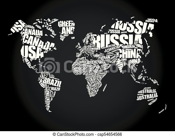World map in typography word cloud concept names of countries world map in typography word cloud csp54654566 gumiabroncs Image collections