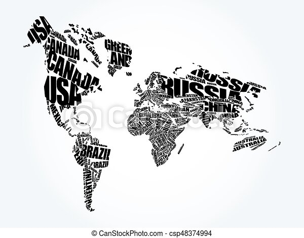 World map in typography word cloud concept names of countries world map in typography word cloud csp48374994 gumiabroncs Gallery