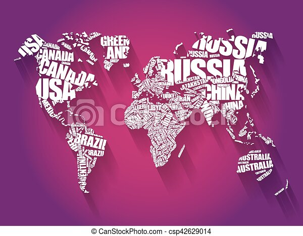 World map in typography word cloud concept names of vector clip world map in typography word cloud csp42629014 gumiabroncs Choice Image