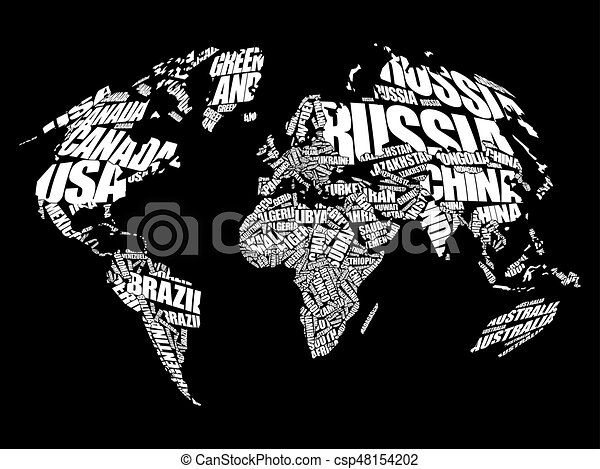 World map in typography word cloud concept names of vector world map in typography word cloud csp48154202 gumiabroncs Gallery