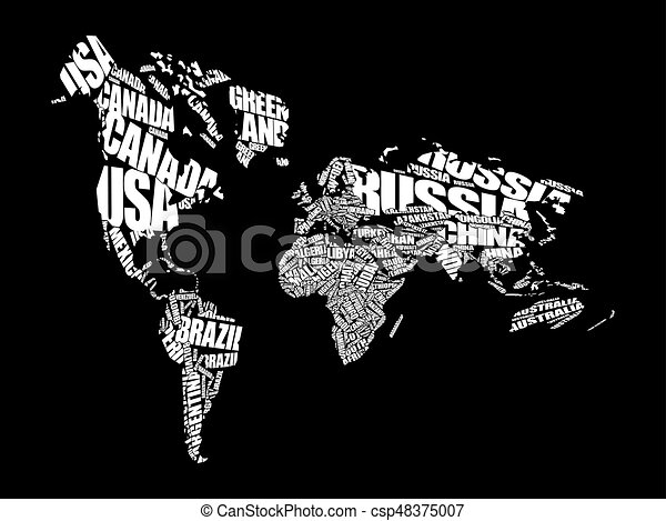 World map in typography word cloud concept names of countries world map in typography word cloud csp48375007 gumiabroncs Gallery