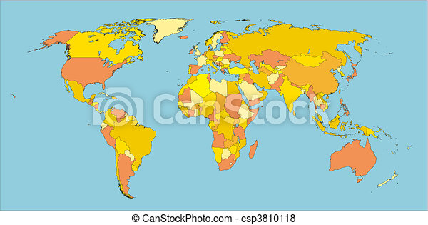 World map in warm colors. Political map of world with country ...
