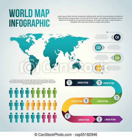 World map infographic chart population vector illustration eps world map infographic chart population csp55182946 gumiabroncs Choice Image