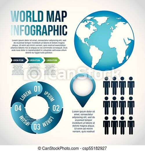 World map infographic chart population vector illustration world map infographic chart population csp55182927 gumiabroncs Gallery