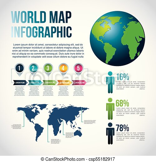 world map infographic chart population csp55182917