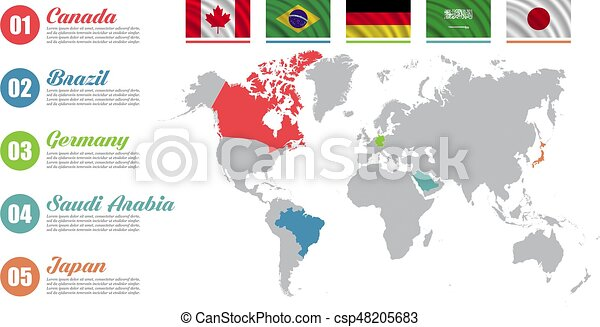 World map infographic. Slide presentation. Canada, Brazil, Germany, Saudi  Arabia, Japan business marketing concept. Color countries with flags