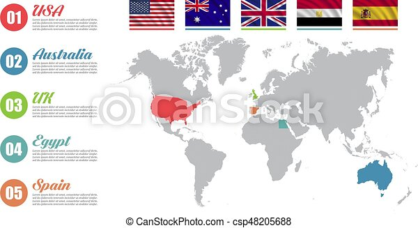 World Map Of Spain.World Map Infographic Slide Presentation Usa Australia Uk Egypt Spain Business Marketing Concept Color Countries With Flags