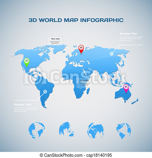 3d world map infographic with globe icons vector eps vectors world map infographic with globe icons csp18140195 gumiabroncs Gallery
