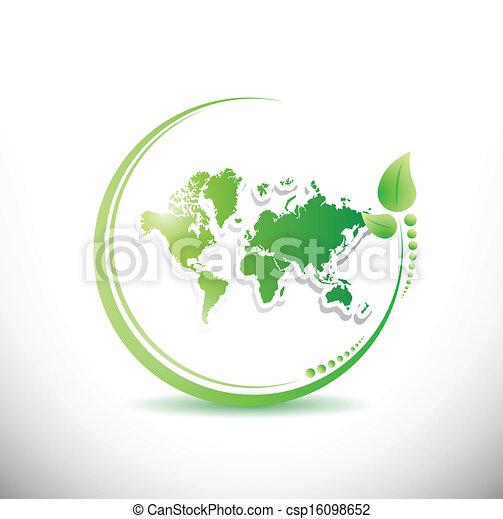 world map inside a organic leave illustration