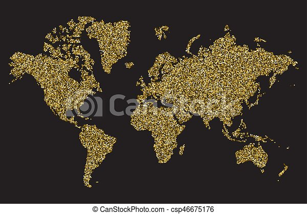 World map isolated on black background, gold glitter texture, vector illustration - csp46675176