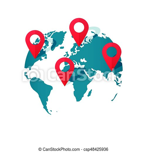 World map location pins vector global gps transportation geo world map location pins vector global gps transportation geo pointer gumiabroncs Images