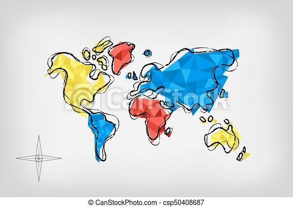 World map low poly art doodle illustration concept modern world map world map low poly art doodle illustration concept gumiabroncs Images